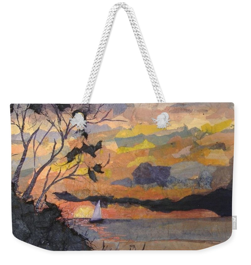 Seascape Weekender Tote Bag featuring the mixed media Lake Erie Sunset by Roger Snook