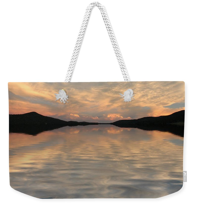 Water Weekender Tote Bag featuring the photograph Lake Front Sunset by Jerry McElroy