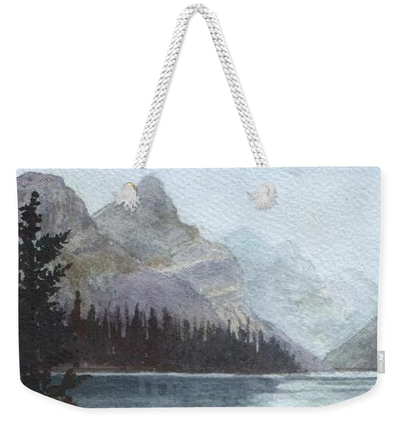 Watercolor Weekender Tote Bag featuring the painting Lake Helevorn by Brenda Owen
