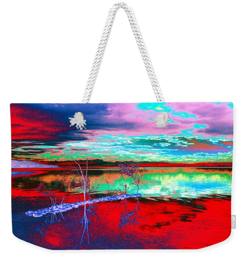 Sea Weekender Tote Bag featuring the digital art Lake In Red by Helmut Rottler