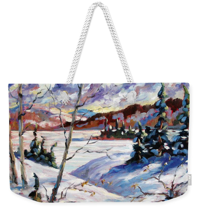 Lake Weekender Tote Bag featuring the painting Lake In Winter by Richard T Pranke