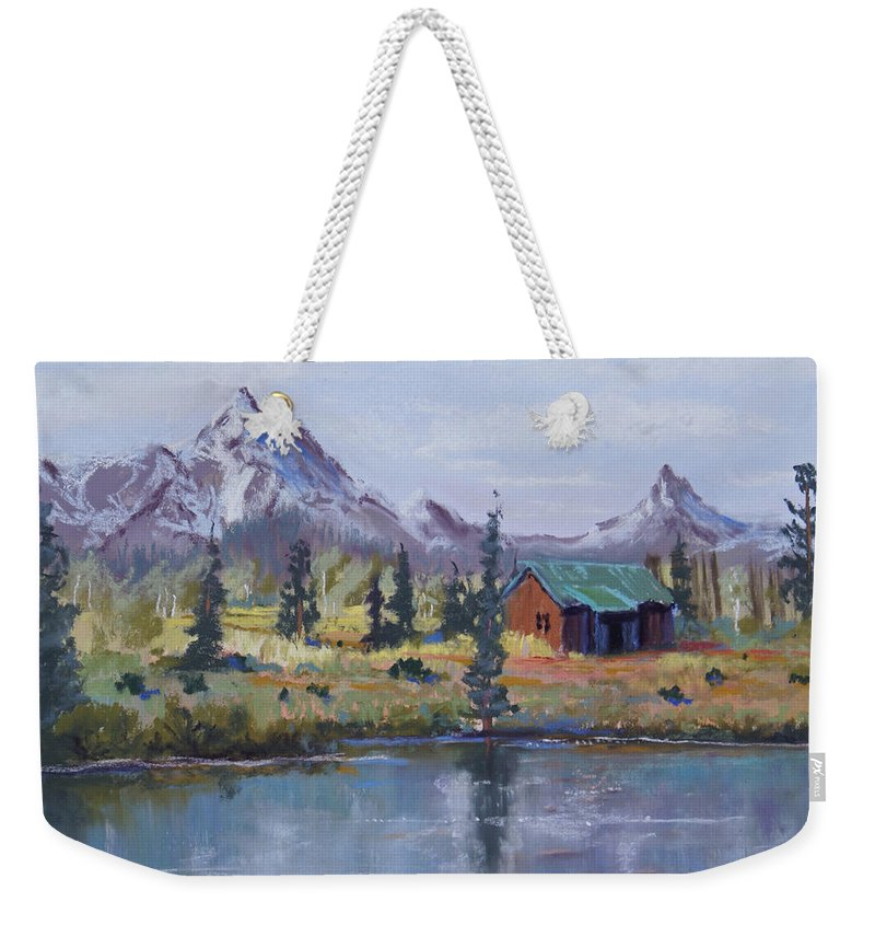 Pastel Landscape Weekender Tote Bag featuring the painting Lake Jenny Cabin Grand Tetons by Heather Coen