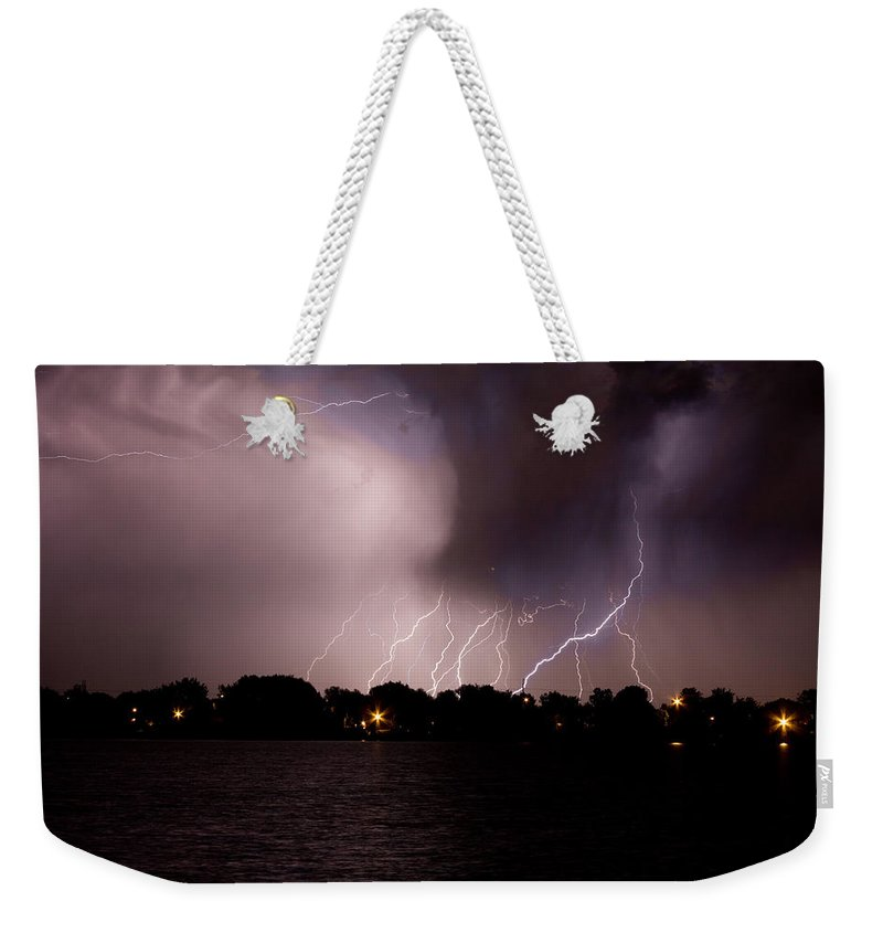 Lightning Weekender Tote Bag featuring the photograph Lake Lightning 3 by James BO Insogna