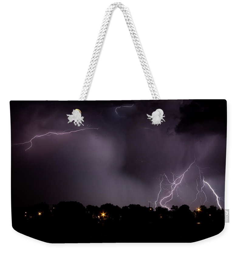 Lightning Weekender Tote Bag featuring the photograph Lake Lightning 4 by James BO Insogna