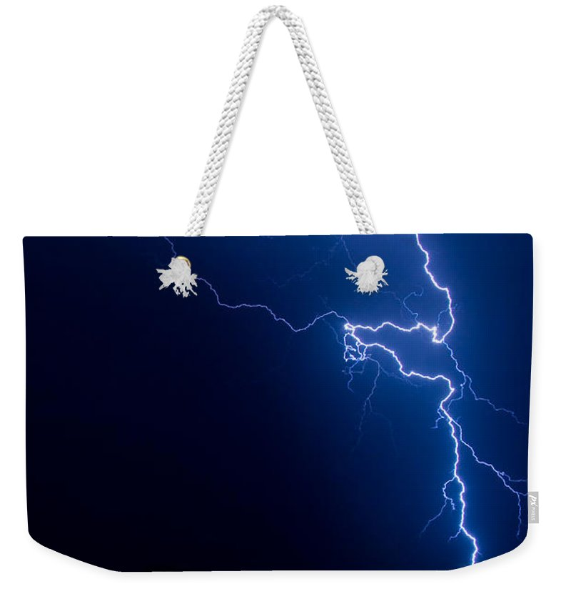 Lightning Weekender Tote Bag featuring the photograph Lake Lightning Strike by James BO Insogna