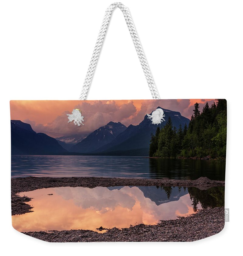 Glacier National Park Weekender Tote Bag featuring the photograph Lake Mcdonald Sunset by Mark Kiver