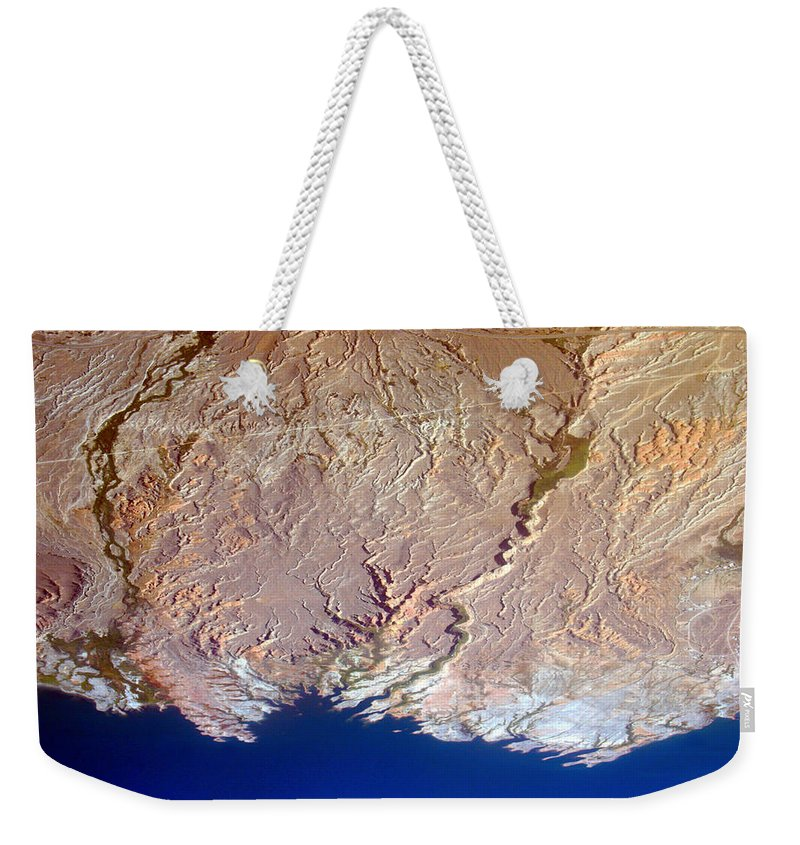 Aerial Weekender Tote Bag featuring the photograph Lake Mead - Planet Art by James BO Insogna
