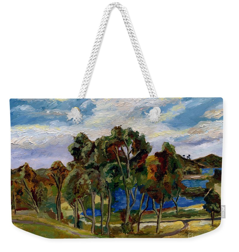 Landscape Weekender Tote Bag featuring the painting Lake Murray by Robert Paulson