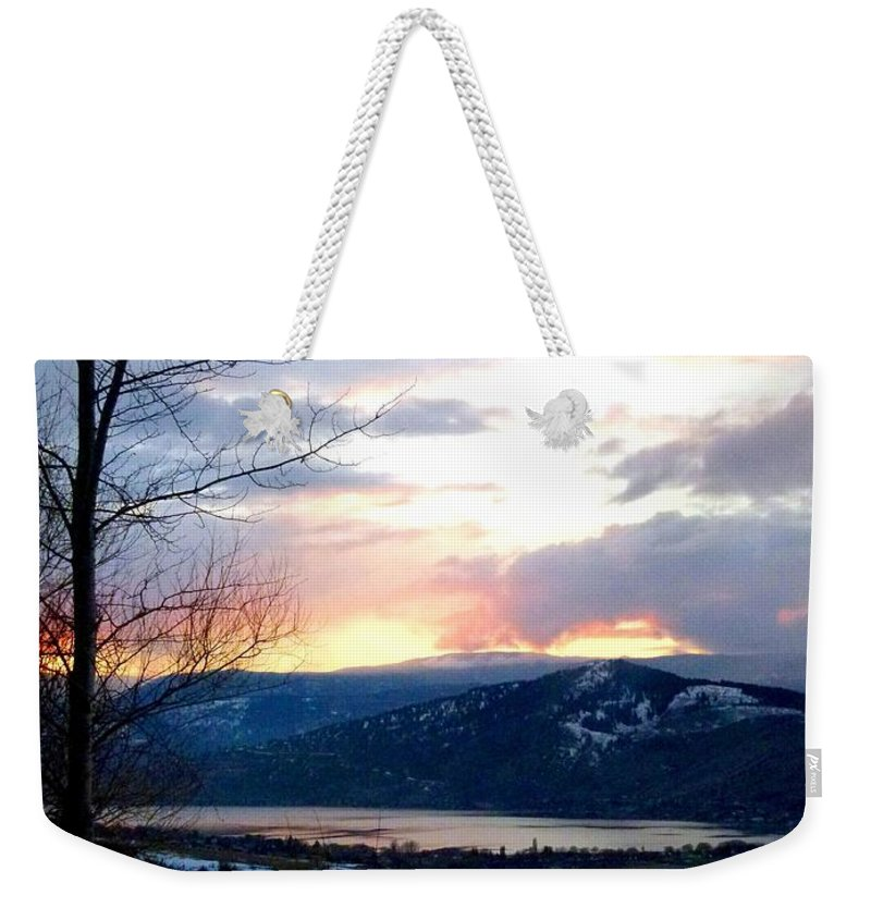 Sunset Weekender Tote Bag featuring the photograph Lake Okanagan Sunset At Vernon by Will Borden