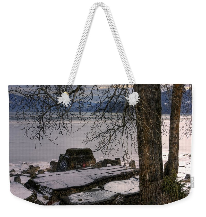 Landscape Weekender Tote Bag featuring the photograph Lake Pend D'oreille At Humbird Ruins 1 by Lee Santa