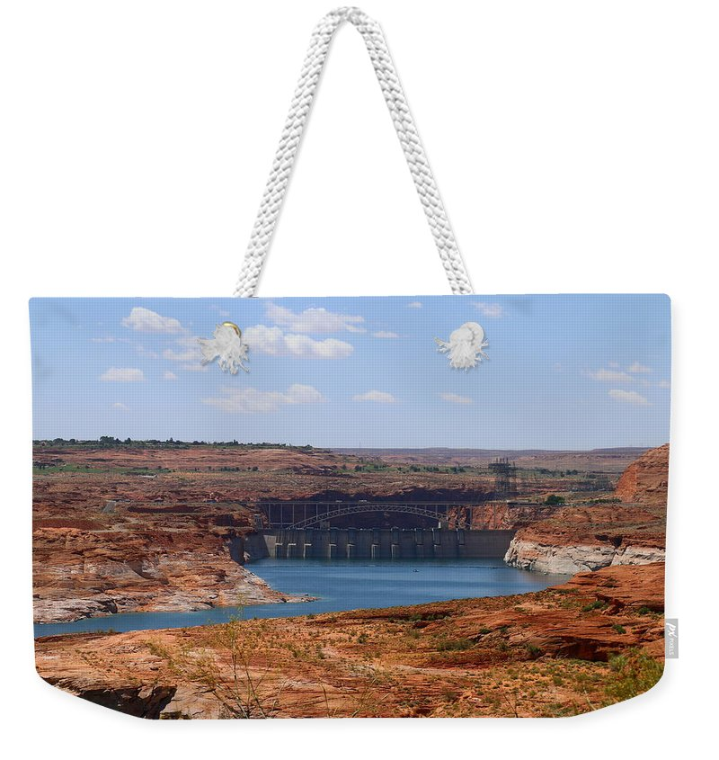 Lake Weekender Tote Bag featuring the photograph Lake Powell And Glen Canyon Dam by Christiane Schulze Art And Photography