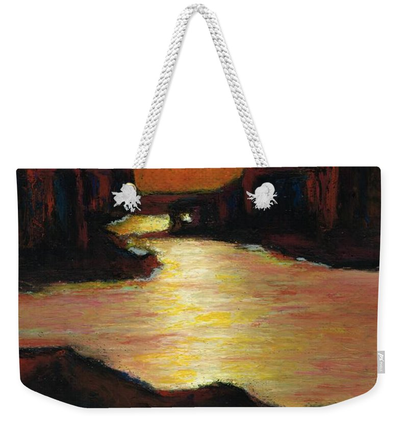 Lake Powell Weekender Tote Bag featuring the painting Lake Powell At Sunset by Frances Marino