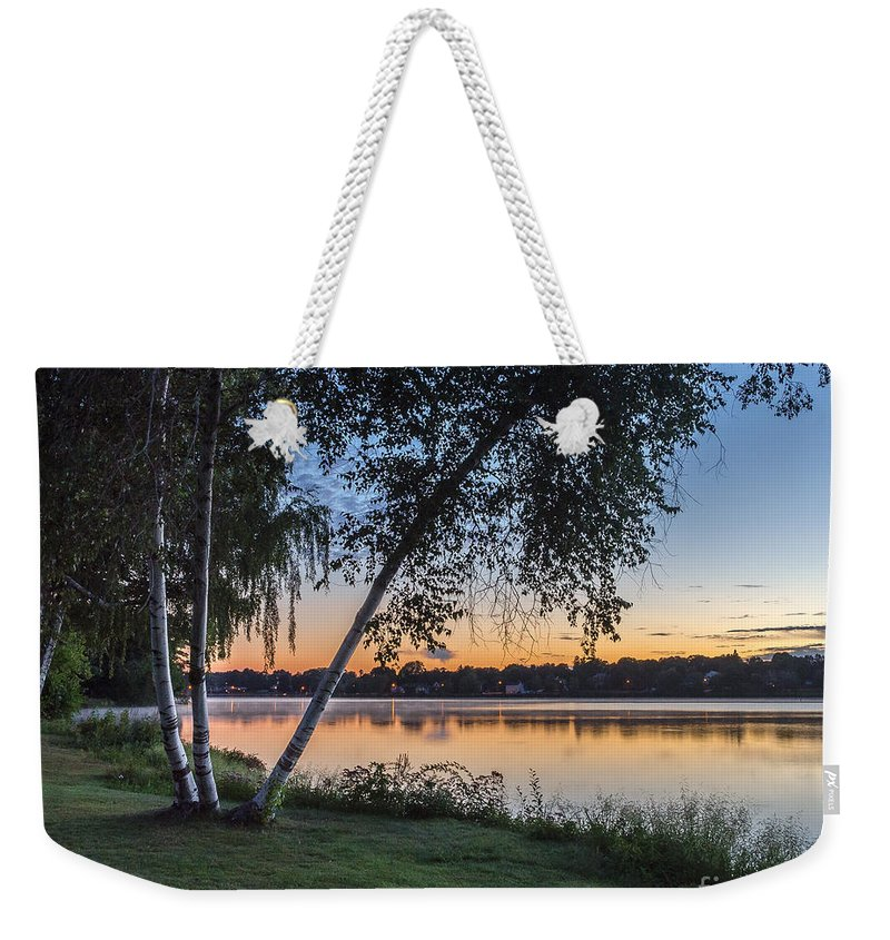 Lake Weekender Tote Bag featuring the photograph Lake Quannapowitt At Sunset by Pat Lucas