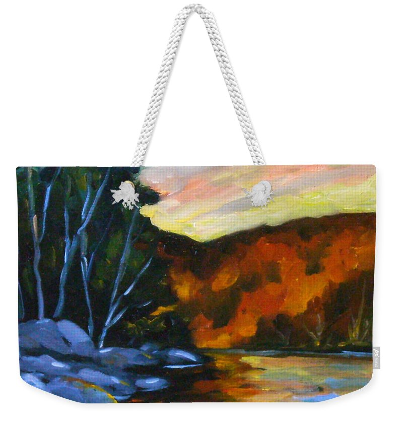Art Weekender Tote Bag featuring the painting Lake Reflections by Richard T Pranke