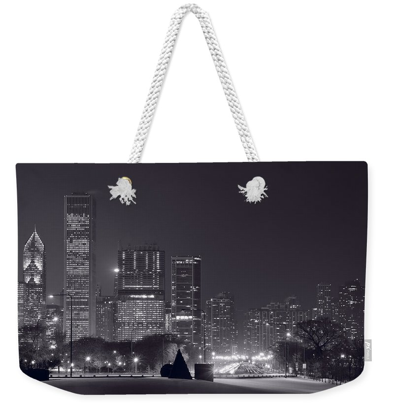 Building Weekender Tote Bag featuring the photograph Lake Shore Drive Chicago B And W by Steve Gadomski