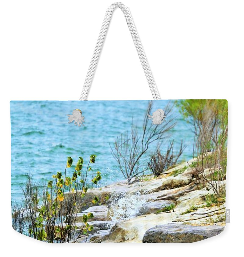 Landscape Weekender Tote Bag featuring the photograph Lake Shore by Jeff Downs