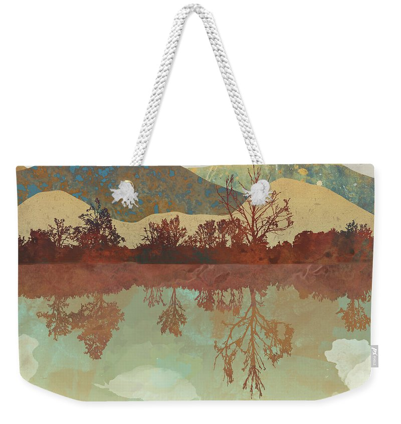Lake Weekender Tote Bag featuring the digital art Lake Side by Spacefrog Designs