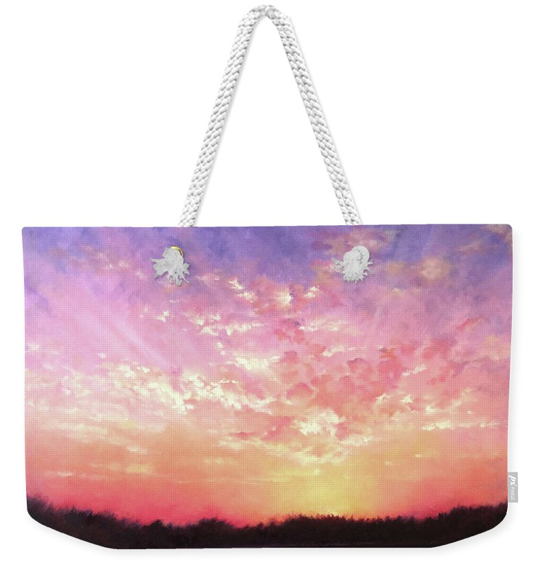 Landscape Weekender Tote Bag featuring the painting Lake Sunset by Teri Rosario