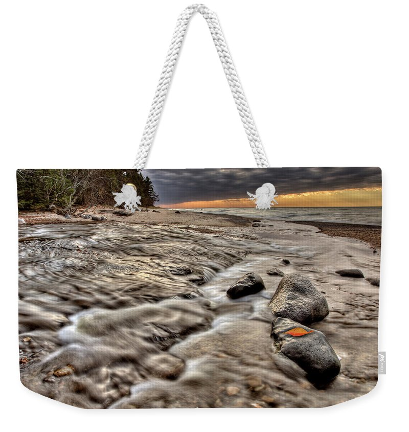 Lake Weekender Tote Bag featuring the digital art Lake Superior Northern Michigan by Mark Duffy