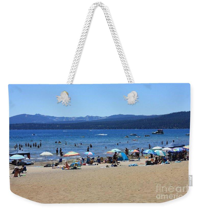 Lake Tahoe Weekender Tote Bag featuring the photograph Lake Tahoe Beach Scene by Carol Groenen