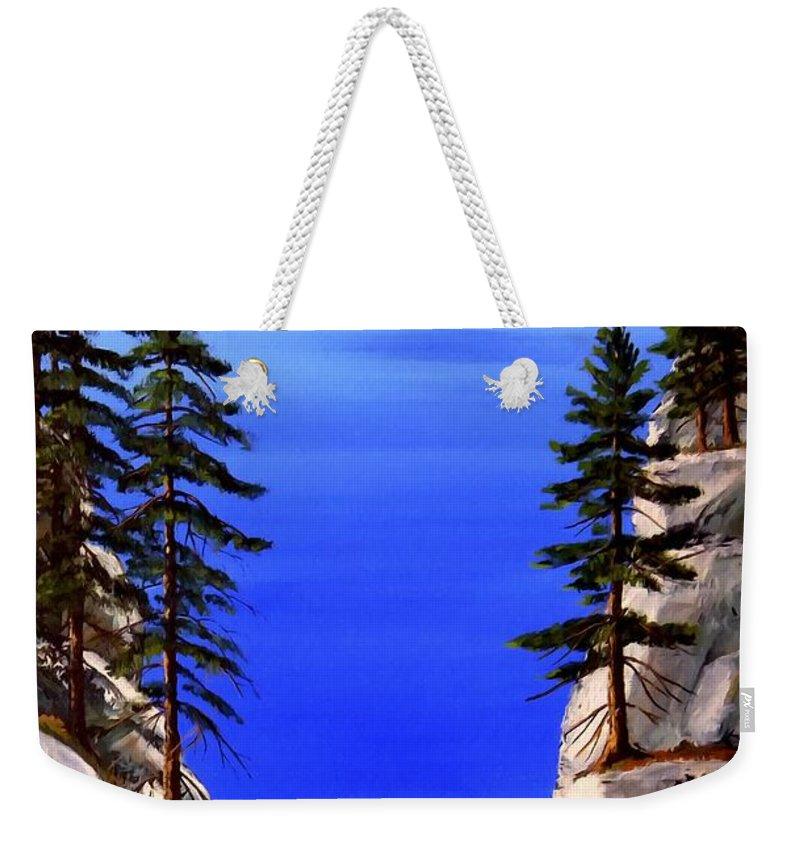 Lake Tahoe Weekender Tote Bag featuring the painting Lake Tahoe Framed by Frank Wilson
