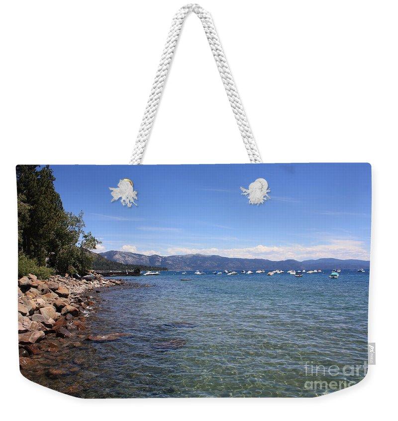 Lake Tahoe Weekender Tote Bag featuring the photograph Lake Tahoe Waterscape by Carol Groenen