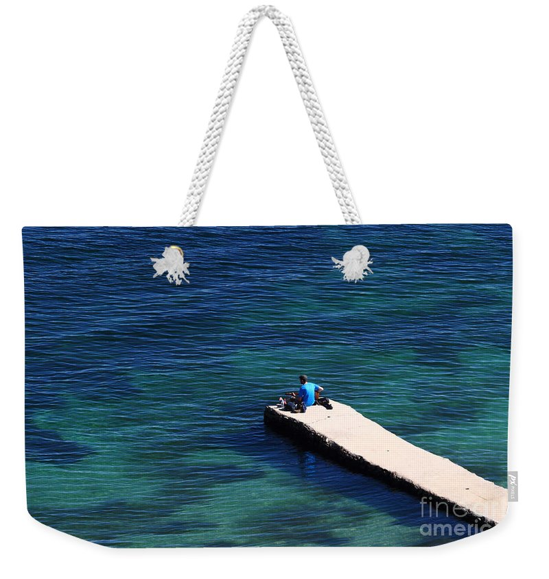 Summer Holiday Weekender Tote Bag featuring the photograph Lake Titicaca Blues 2 by James Brunker