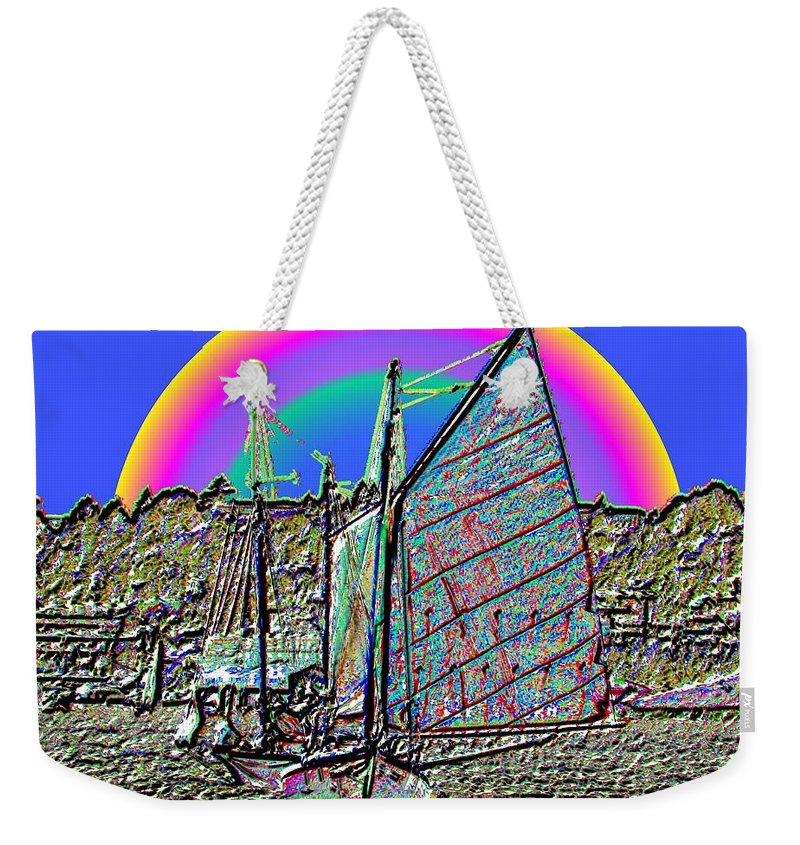 Seattle Weekender Tote Bag featuring the photograph Lake Union Rainbow Sail by Tim Allen