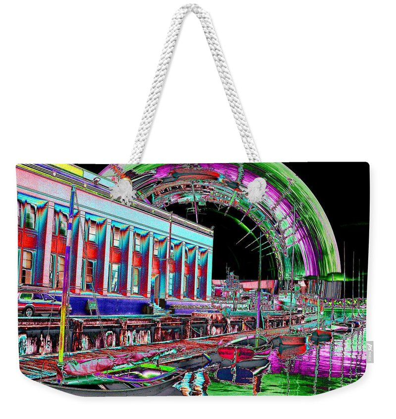 Seattle Weekender Tote Bag featuring the photograph Lake Union Rainbow by Tim Allen
