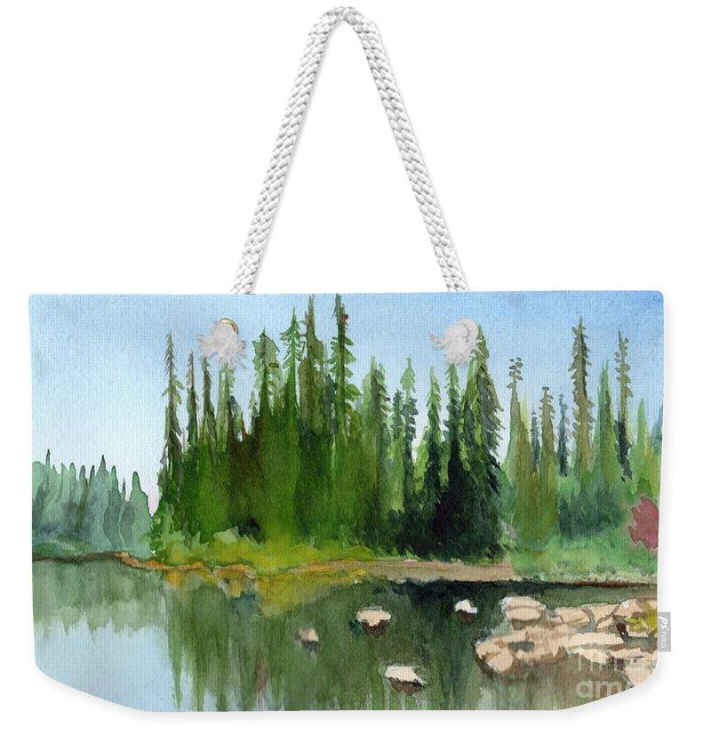 Lake Weekender Tote Bag featuring the painting Lake View 1 by Yoshiko Mishina