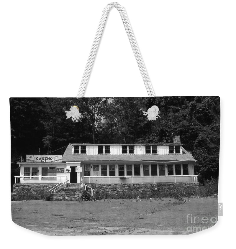 Connecticut Weekender Tote Bag featuring the photograph Lake Waramaug Casino by Richard Rizzo
