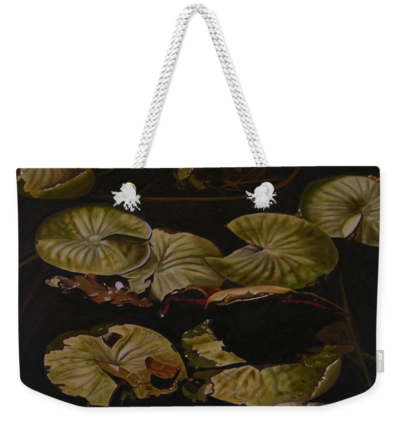 Lilypad Weekender Tote Bag featuring the painting Lake Washington Lily Pad 9 by Thu Nguyen