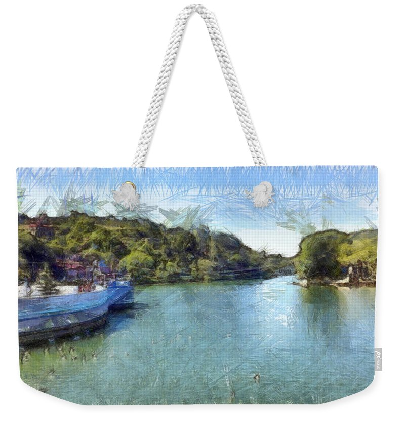 Bhimtal Weekender Tote Bag featuring the photograph Lake With Islands by Ashish Agarwal