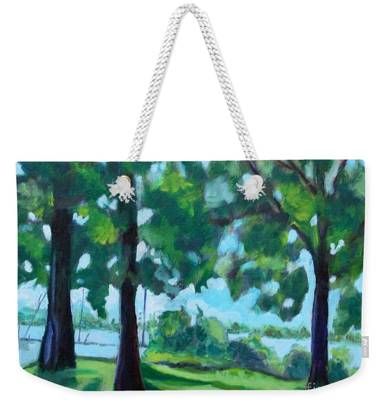 Landscape Weekender Tote Bag featuring the painting Lakeside Shadows by Jan Bennicoff