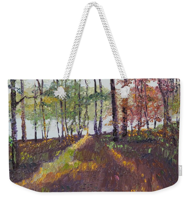 Landscape Weekender Tote Bag featuring the painting Lakeside Shadows by Lea Novak