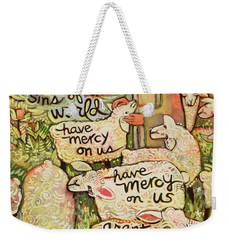 Jen Norton Weekender Tote Bag featuring the painting Lamb Of God by Jen Norton