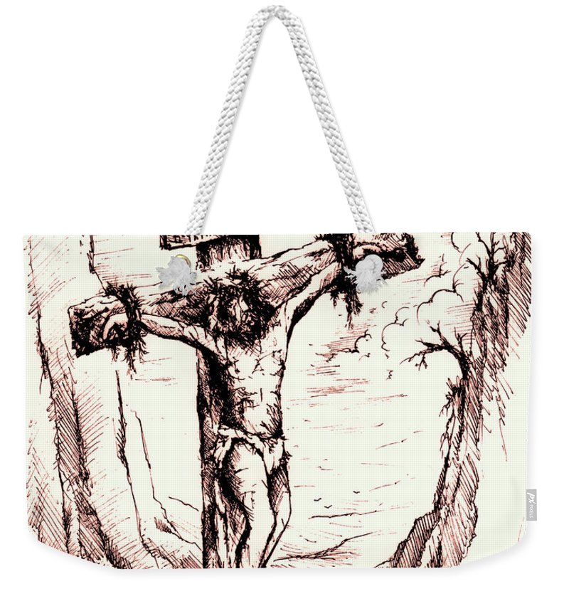 Christ Weekender Tote Bag featuring the drawing Lamb Of God by Rachel Christine Nowicki