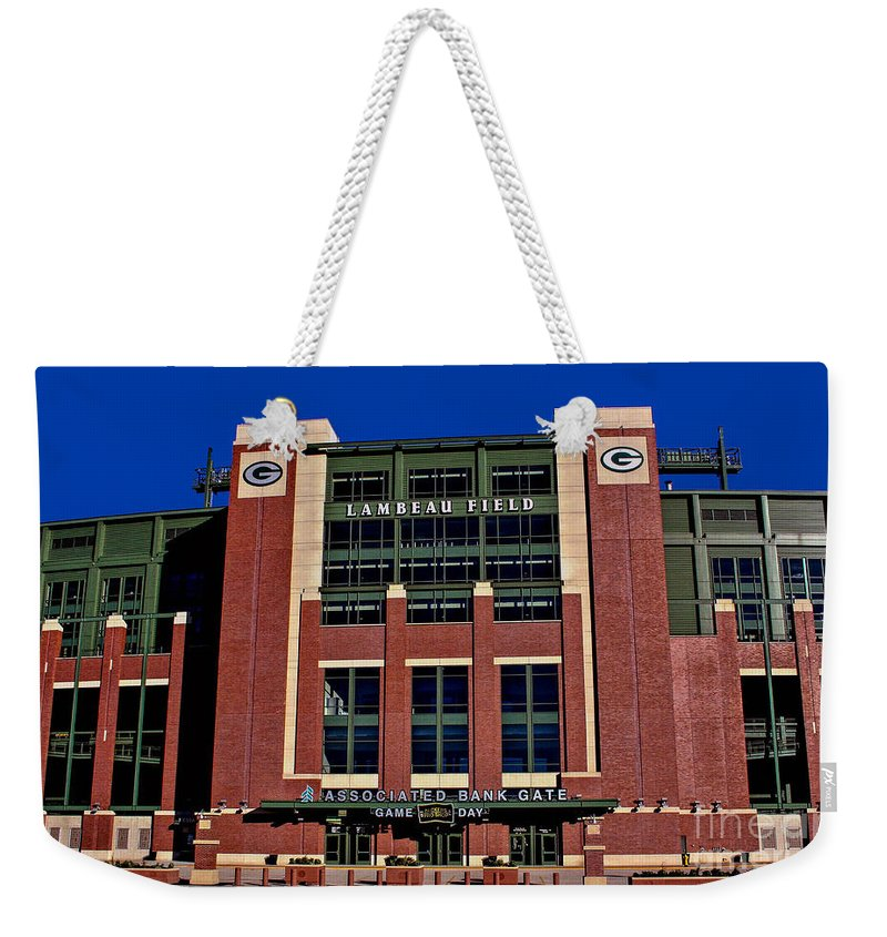 Lambeau Field Weekender Tote Bag featuring the photograph Lambeau Field Green Bay Packers by Tommy Anderson