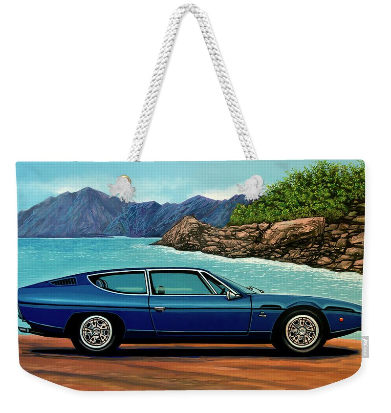 Lamborghini Espada Weekender Tote Bag featuring the painting Lamborghini Espada 1968 Painting by Paul Meijering