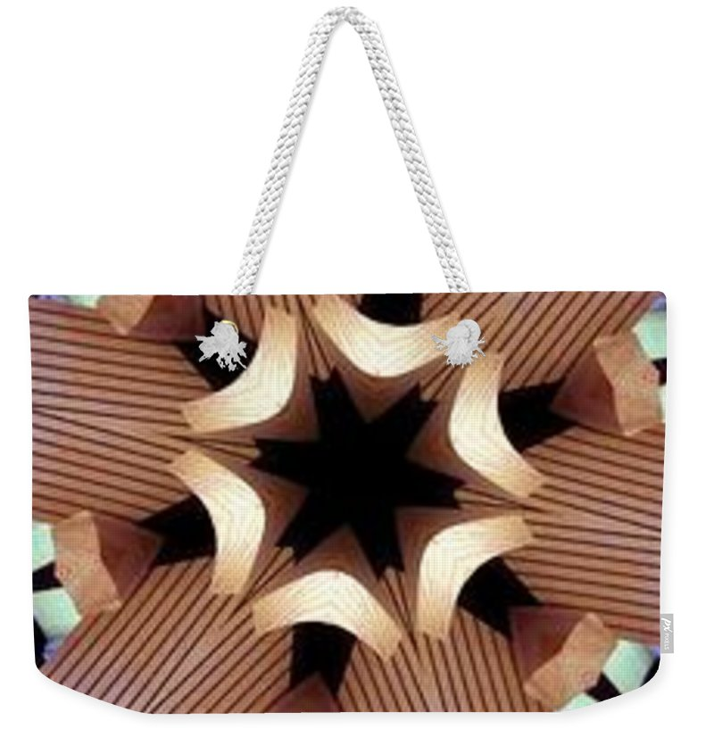 Abstract Weekender Tote Bag featuring the digital art Laminated Fans by Ron Bissett
