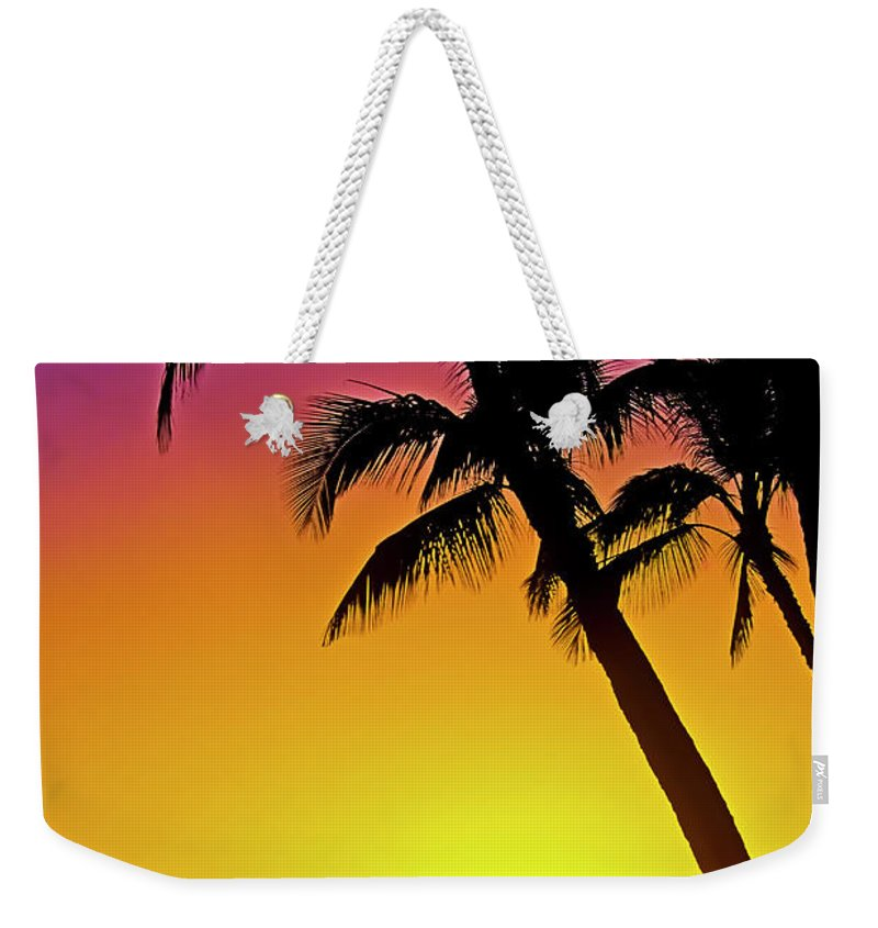 Sunset Weekender Tote Bag featuring the photograph Lanai Sunset II Maui Hawaii by Jim Cazel