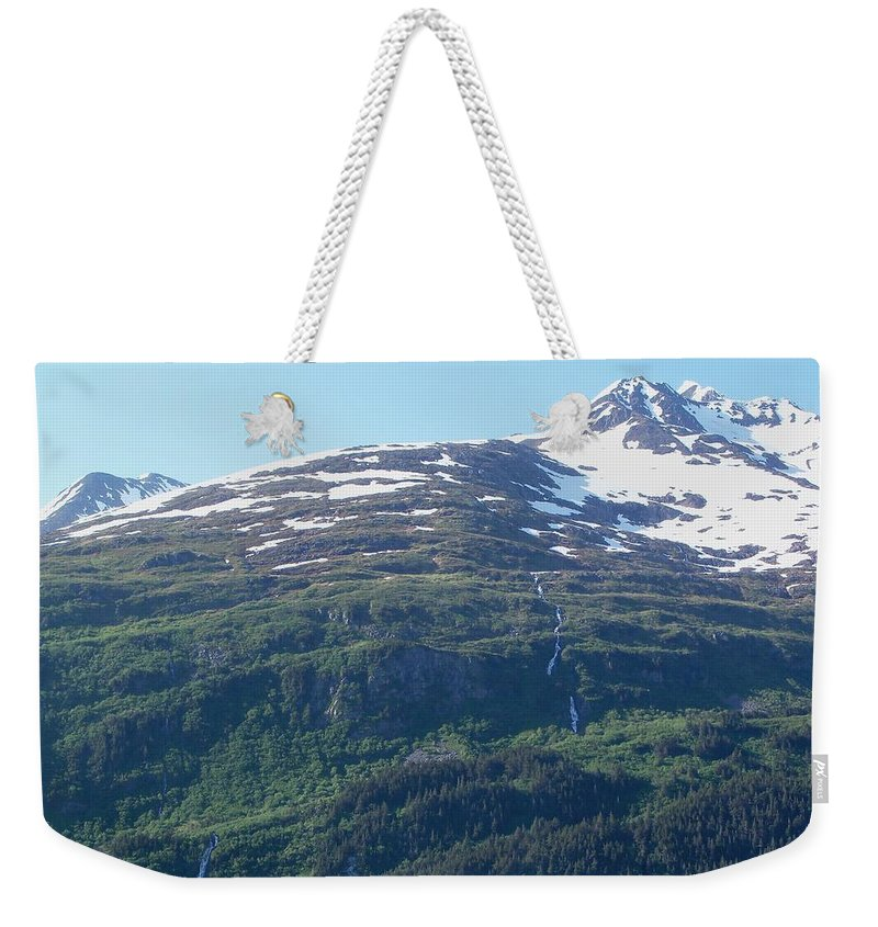 Mountain Weekender Tote Bag featuring the photograph Land And Sea In Whittier by Katie Beougher