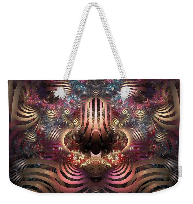 Fractal Weekender Tote Bag featuring the digital art Land Of Confusion by Amorina Ashton
