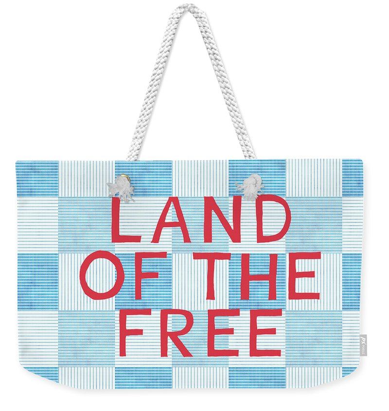 Land Of The Free Weekender Tote Bag featuring the painting Land Of The Free by Linda Woods