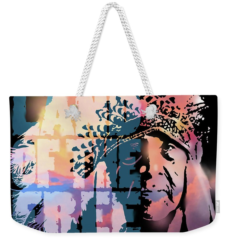 Native American Weekender Tote Bag featuring the painting Land Of The Free by Paul Sachtleben