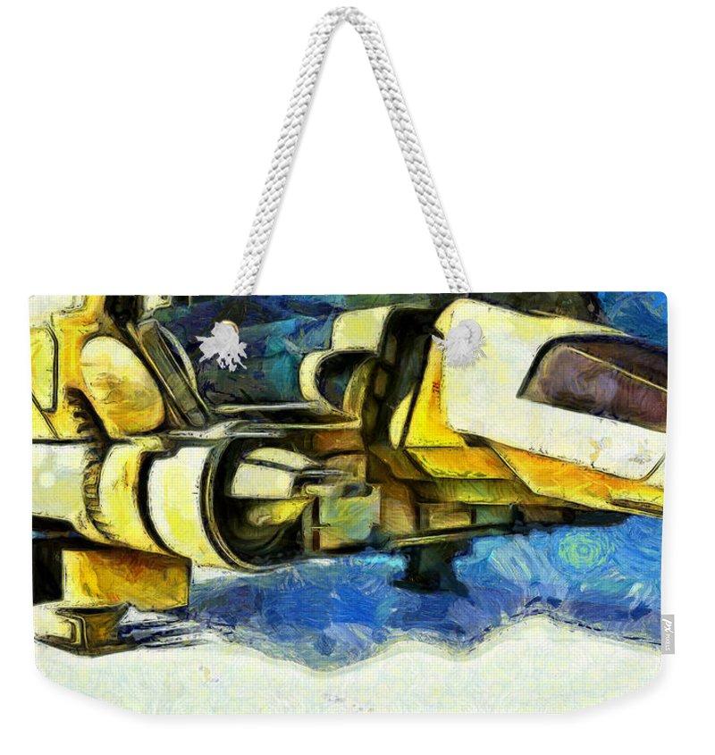 Land Weekender Tote Bag featuring the digital art Landed Imperial Shuttle - Da by Leonardo Digenio