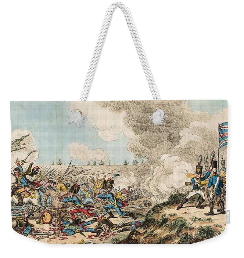Gillray (james) French Invasion _ Or _ Buonaparte Landing In Great Britain Weekender Tote Bag featuring the painting Landing In Great Britain by MotionAge Designs