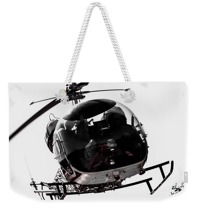 Helicopter Weekender Tote Bag featuring the photograph Landing by Sherman Perry