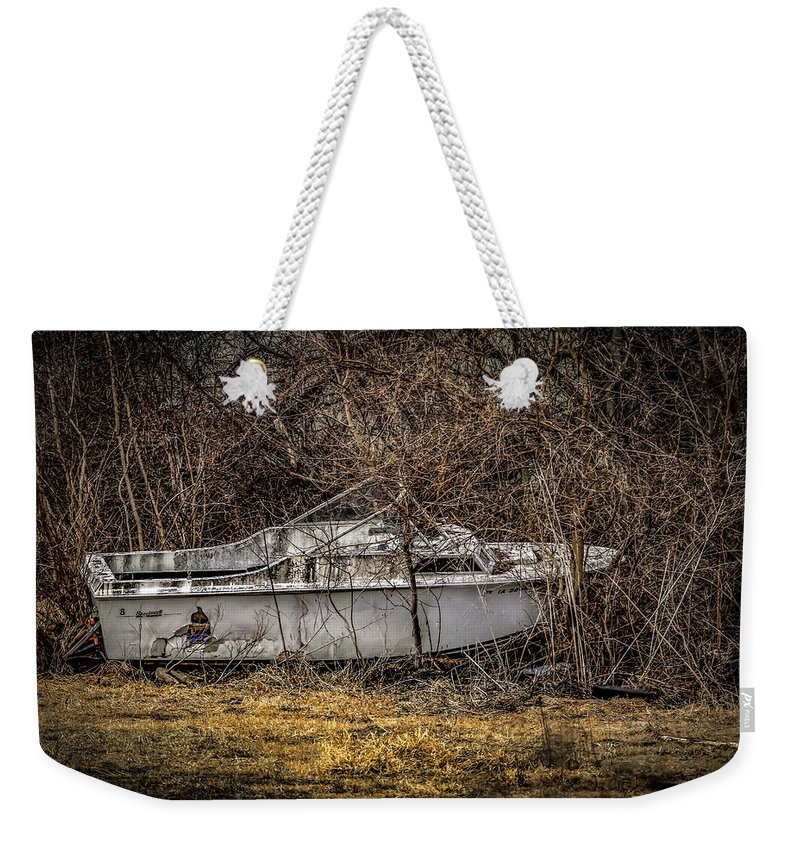 Boat Weekender Tote Bag featuring the photograph Landlocked Marina by Ray Congrove