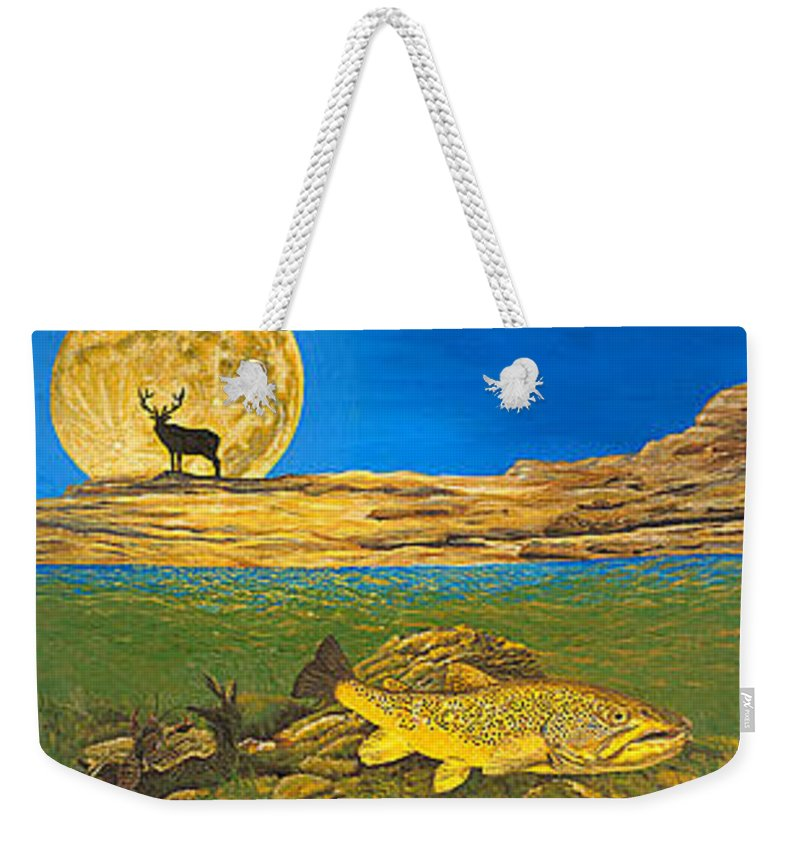 Artwork Weekender Tote Bag featuring the painting Landscape Art Fish Art Brown Trout TIMING Bull Elk Full Moon Nature Contemporary Modern Decor by Patti Baslee